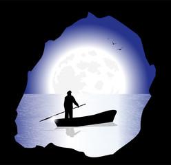 silhouette di pescatore sotto al chiaro di luna