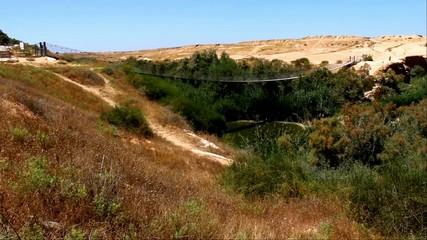 Suspension bridge and  Besor Brook  in Eshkol National Park,