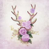 deer antler with flower decoration