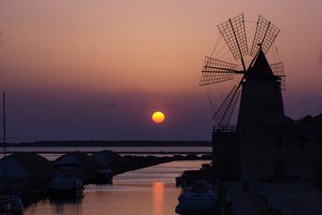 Windmill at sunset pink