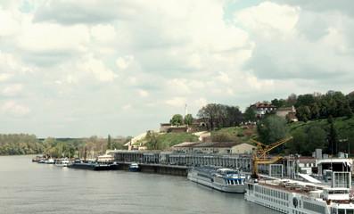 Belgrade harbor with view on Kalemegdan fortress
