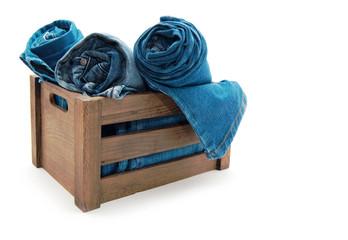 jeans  wood box