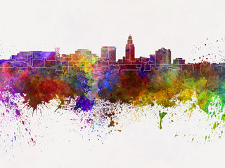 Lincoln skyline in watercolor background