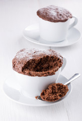 Quick chocolate cake in a mug