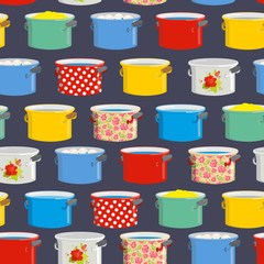 Colored pans. Seamless pattern for kitchen. Vector illustration