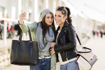 Young women taking selfie