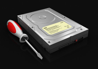 Hard Drive and Screwdriver (clipping path included)