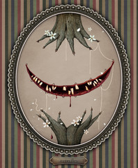 Conceptual illustration of  smiling Cheshire cat.