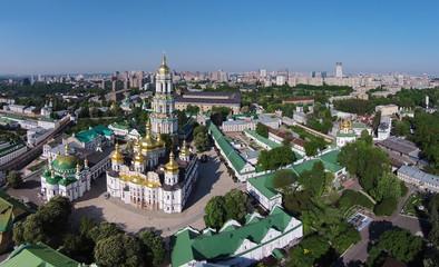 aerial view of Kiev-Pechersk Lavra at spring
