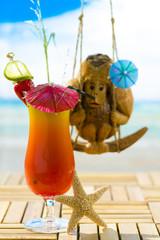 Coconut monkey on a swing