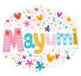Mayumi girls name decorative lettering type design