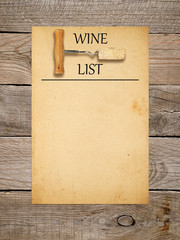Wine list design - corkscrew with cork and old paper
