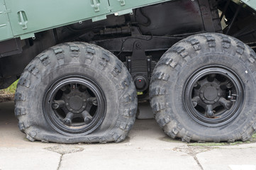 Flat tire of military vehicles