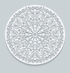 Round paper lace doily, greeting card. Decorative, geometric vec