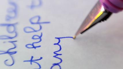 Feather fountain pen writing