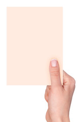 fingers holding a blank card