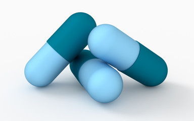 Medicine concept. Three capsule pills