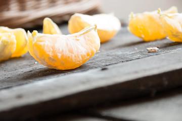 Sliced orange fruit segments