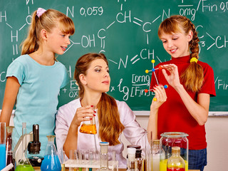 Child in chemistry class.