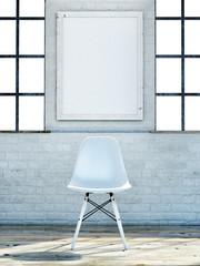 Mock up poster, loft office, 3d illustration