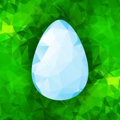 Geometric blue Easter egg on a green  Triangular Polygonal backg