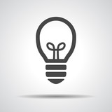 flat black Light bulb vector icon poster