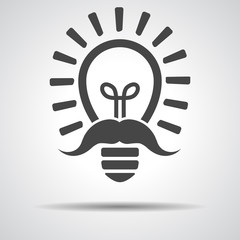 black flat lamp bulb icon with mustache - vector illustration