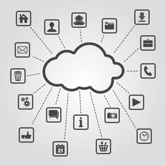 set of web, multimedia and business icons on a grey background
