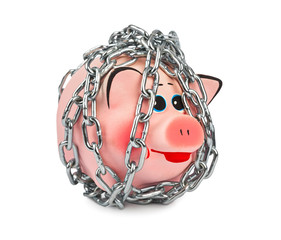 Piggy bank and chains