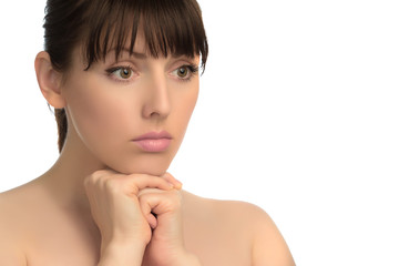 Isolated image of woman's face showing emotion