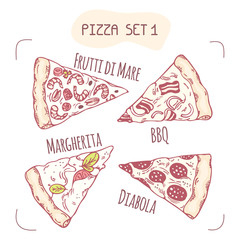 Set of different hand drawn pizza slices