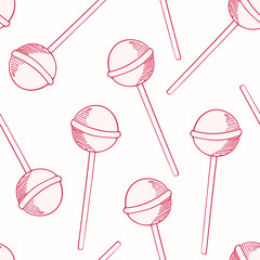 Oitline sketches candies seamless pattern