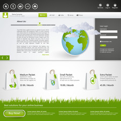 Eco Website with shopping elements. Eps 10