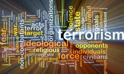 Terrorism background concept glowing