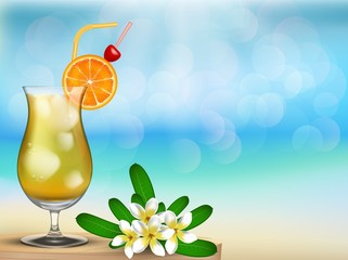 Have a nice vacation summer beach with drink and flower