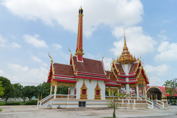 Crematory with sky background at Wat Khun Thip
