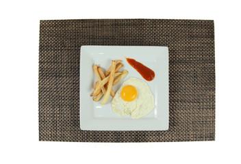 Huevo con patatas fritas