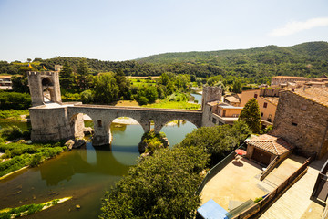 Wide angle shot of Medieval bridge