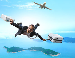 crazy business man flying from passenger plane with briefcase an