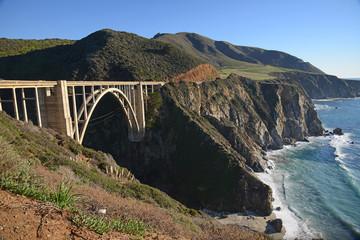 a historic Bixby bridge along coastline california route one