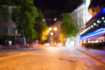 blurred night street  background with boke