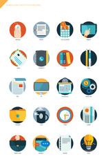 Business item flat design icon set