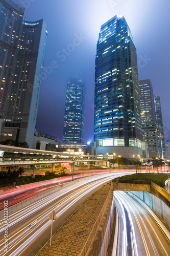 Hong Kong Business District at Night Light Track