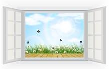 Ouvrir la fenêtre avec des fleurs et vue papillon de l'été