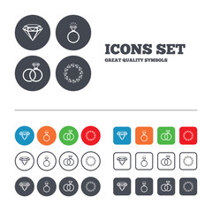 Rings icons. Jewelry with diamond signs.