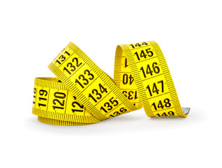 Measure tape isolated over white.
