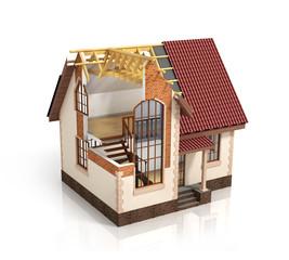 Construction house plan design blend transition illustration. Co