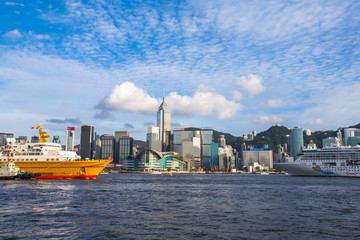 Two Cruises face to face in Victoria Harbor of Hong Kong