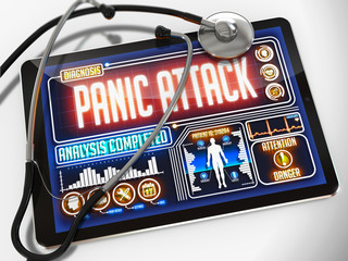 Panic Attack on the Display of Medical Tablet.