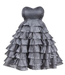 gray strapless dress with a fluffy skirt on an isolated white ba